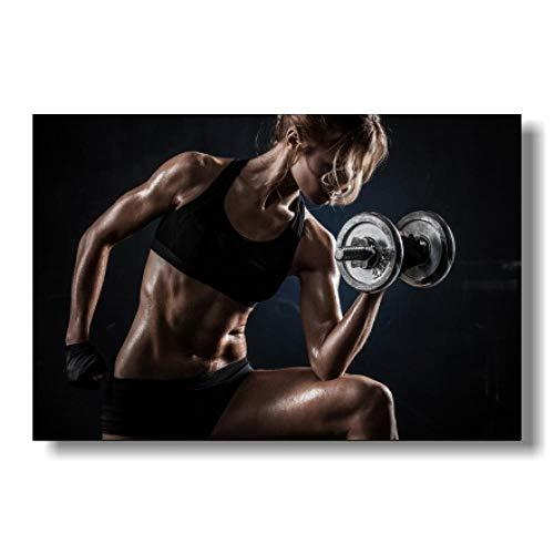ZDFDC Große Leinwand Malerei Sexy Frauen Fitness Bodybuilding Motivierende Poster und Drucke Wandkunst Bilder für Schlafzimmer Dekor Bild-60x90cmx1 ohne Rahmen