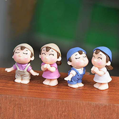 SweetGifts Miniature Couple Figurines Boys and Girls Kiss Dolls Landscape Ornaments Mini Resin Fairy Garden Bonsai Dollhouse Decorations 4PCS