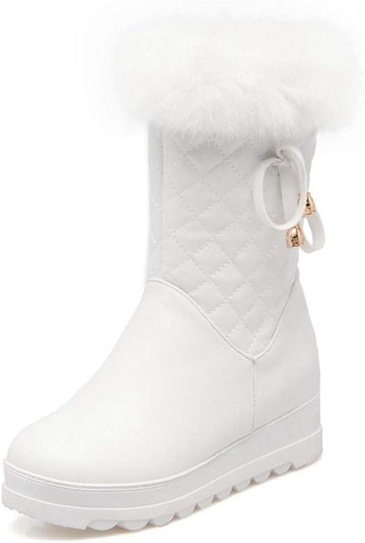 Gcanwea Women Winter Warm Snow Boots Ladies Sweet Bowtie Style Mid Calf Botas Woman Round Toe Flat Zipper shoes Size 34-43 Dexterous Sweet No Grinding Feet Fashion Dress Black 4 M US Boots