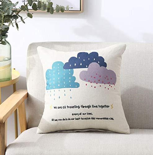 Almohada de lino sofá cojín oficina almohada cama cabeza cinturón cojín almohada almohada núcleo cintura almohada cojín nube gota patrón,45 * 45cm