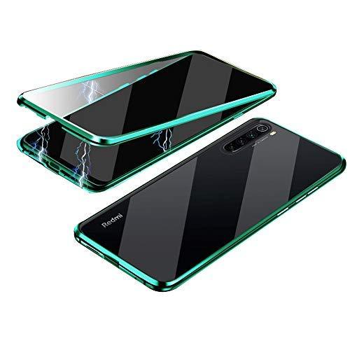 Jonwelsy Funda para Xiaomi Redmi Note 8T, Adsorción Magnética Parachoques de Metal con 360 Grados Protección Case Cover Transparente Ambos Lados Vidrio Templado Cubierta para Redmi Note 8T (Verde)
