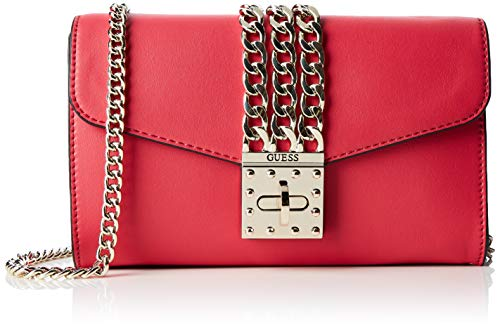 Guess Damen Prisma Clutch Umhängetasche, Schwarz (Red), 23x13x4 centimeters