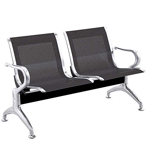 PrimeMatik - Bancada para sala de espera con sillas ergonómicas negras de 2 plazas
