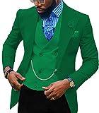 Traje casual para hombre de 3 piezas con solapa de muesca, ajustado, para novio, tuxedos, chamarra para boda (blazer + chaleco + pantalón) -  Beige -  50US/UK & 60EU-Chaqueta,44-Pantalones