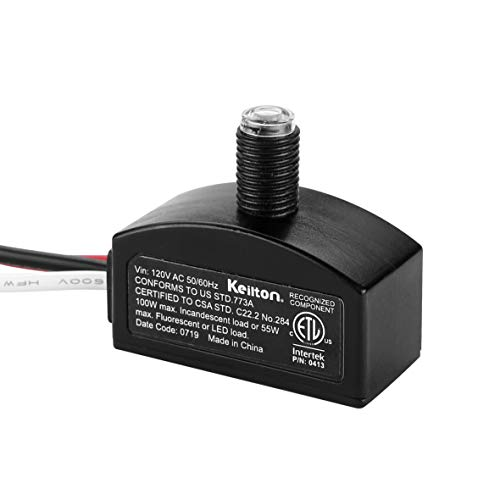Keilton 120V AC Dusk to Dawn Photocell Light Sensor, Outdoor Hard-Wired Post Eye Light Control with Photoelectric Switch, Auto On/Off, ETL Listed, 1 Pack