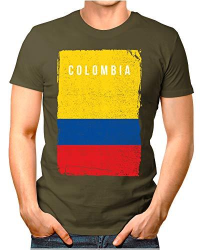 OM3® - Colombia-Flag-Vintage - Herren T-Shirt | Kolumbien Flagge Fussball Soccer Fanshirt Sport Trikot | Oliv XL