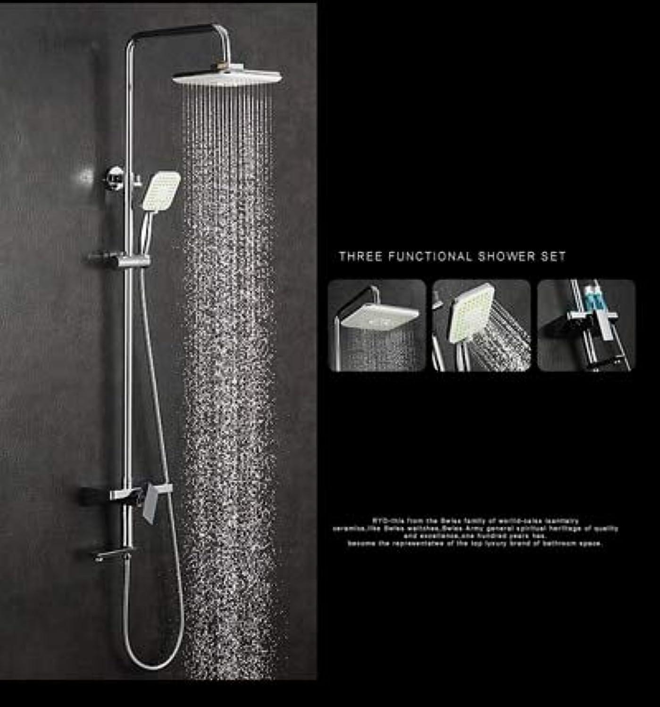 Bathroom Shower Set Brass Chrome Wall Mounted Shower Faucet 10  Shower Head Water Saving Nozzle Aerator Ceramic Rack Shower Set,Weiß
