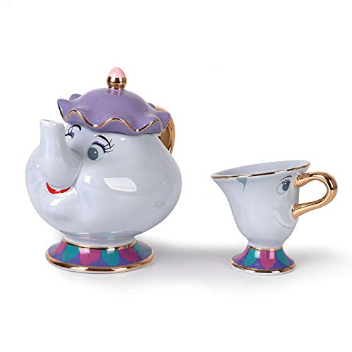 PULUKESns Nueva Taza De Tetera De Dibujos Animados De La Bella Y La Bestia De Estilo Blanco/Azul Sra. Potts Chip Tea Pot Cup One Set Lovely For Friend-_1_Blue_Cup_and_1Pot