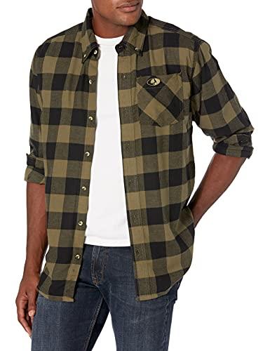 Mossy Oak Flannel Shirt for Men Buffalo Plaid Long Sleeve Mens Flannel Shirts , Olive Buffalo Plaid, X-Large