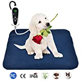 BohoFarm PVC Pet Heating Pad Heated Pet Bed Mats for Dogs 18 x 18inch Electric Cat Heating Pad Waterproof Adjustable Chew Resistant Steel Cord