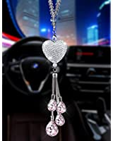 Alotex Bling Car Accessories for Women & Men,White Heart and Pink Drops Bling Rinestones Diamond Car Accessories Crystal Car Rear View Mirror Charms,Lucky Hanging Interior Accessories(Silver-Pink)