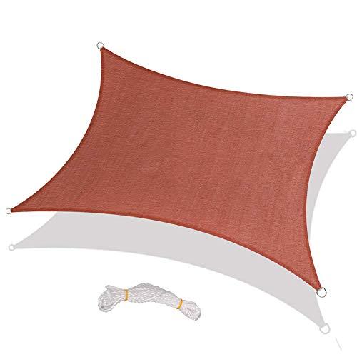 Rylod Toldo rectangular de tela impermeable, bloque UV para actividades al aire libre, patio, jardín, patio, patio, color rojo óxido