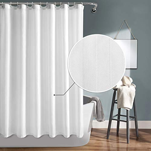 DWCN White Fabric Shower Curtain with Hooks Now $7.99 (Was $12.99)