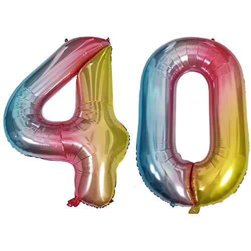 DIWULI, gigantescos Globos de número XXL, número 40, Globos iridiscentes de Arco Iris, Globos de número, Globos de Papel de Aluminio número no años, Globos de Papel de Aluminio para el 40º cumpleaños