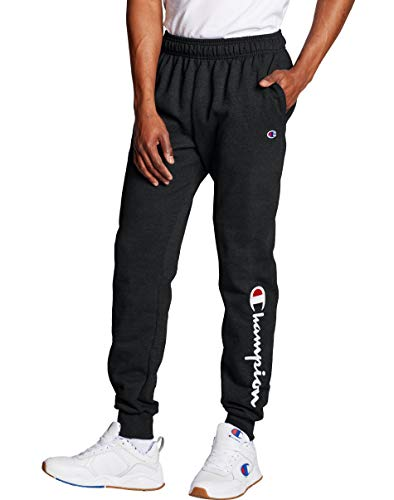 "Tênis masculino Champion Powerblend Graphic Jogger, Black - 15"" Script Low Leg, Large"