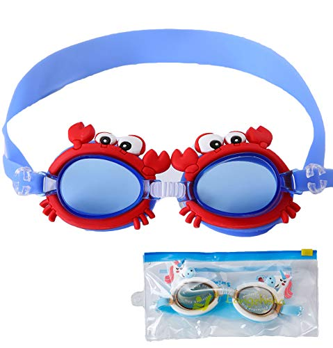 June Sports Cute Kids Swimming Goggles, Clear Vision Waterproof UV Protection Triathlon Swim Goggles No Fog with Free Protection Case for Children Teens,Multiple Cute Cartoon Styles Red Blue Crab SG7