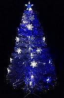 Questo è uno splendido albero di Natale per qualsiasi casa o posto di lavoro. La decorazione non è necessaria in quanto questo albero sembra adorabile così com'è. Ha rami trasparenti con luci a fibre ottiche a led blu e bianchi. L'albero ha anche fio...