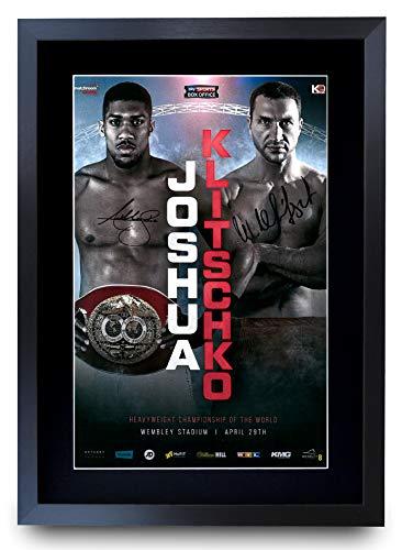 HWC Trading Signiertes Autogramm von Joshua Klitschko Fight Anthony Joshua vs. Wladimir Klitschko, für Box-Fans, A3 gerahmt
