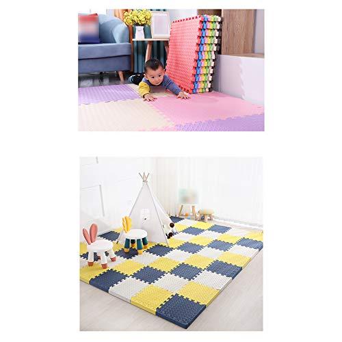 LXZFJW Baldosas de espuma entrelazadas para el suelo, baldosas de espuma EVA acolchado suave para niños, bebés, sala de juegos, azul+amarillo+blanco 60 × 60 × 1,2 cm, 12 unidades