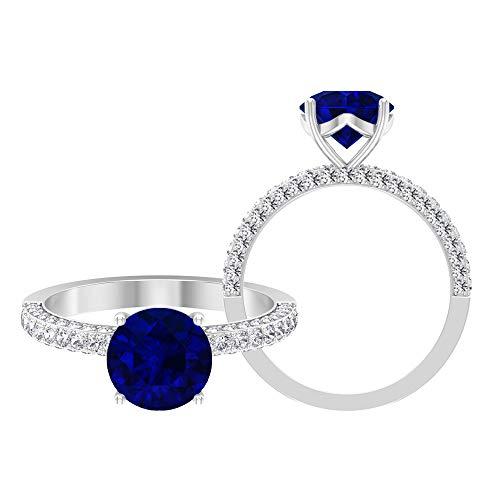 Anillo solitario vintage, piedras preciosas redondas de 3 quilates, moissanite D-VSSI 8 mm zafiro azul, anillo de compromiso con montura francesa, 18K Oro blanco, Size:EU 64