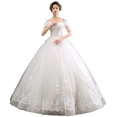 Vestido de boda largo, Vestido de novia nupcial de encaje floral con...