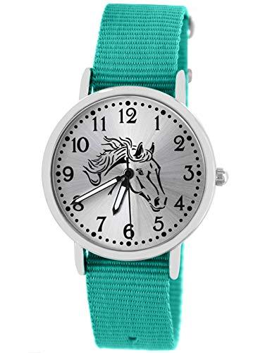 Pacific Time Mädchen Uhr analog Quarz mit Textilarmband 10405