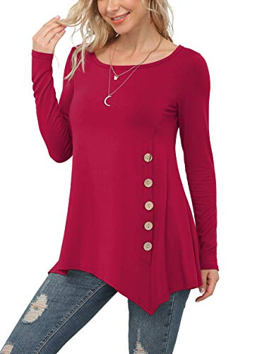 VIISHOW Women's Long Sleeve Casual Scoop Neck Button Side Shirt Blouse Tunic Top, Red, X-Large