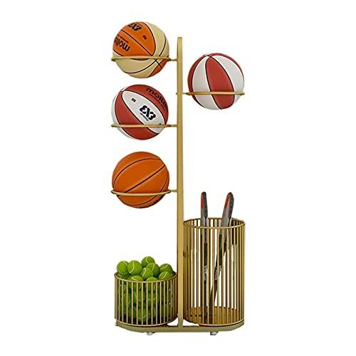 Estantería fútbol organizador de baloncesto Tenedores de bolas deportivas multifuncionales con canasta organizadora de pelota de tenis, estante de almacenamiento de baloncesto adecuado para garaje / e