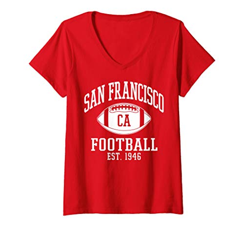 Womens San Francisco Football   Vintage SF Cali Retro Gameday V-Neck T-Shirt