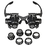 YYS SPY Watch Eyeglass Repair Magnifier Head Mount Magnification with 2 LED Lights Double Eye Loupe Jeweler Magnifying Glasses for Close Work with Replaceable Lenses (10X 15X 20X 25X)