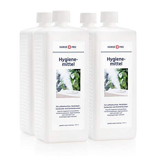 HANSE PRO Hygienemittel, 4 x 1000 ml - Konservierungs-Mittel für Luftbefeuchter, Luftreiniger, Luftwäscher, Heizkörper-Verdunster, Zimmerbrunnen - hält Verdunstwasser hygienisch einwandfrei