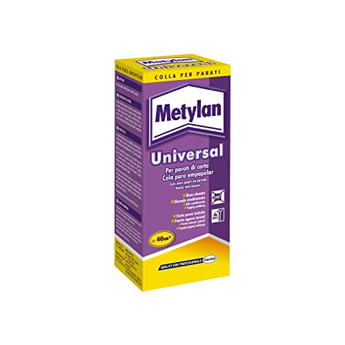 Metylan Universal Colla carta da parati resistente, Colla in polvere potente e riposizionabile, Colla da parati facile da miscelare e applicare, astuccio 125g