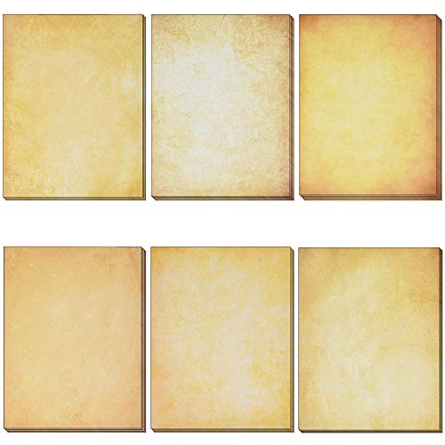 """120 Pack Vintage Antique Stationery Paper Old Fashion Aged Looking 6 Color Design Double Sided 8.5""""X 11"""" Letter Sheets For Writing Calligraphy, Printing, Scrapbook Crafts, Map, Certificate, Invitation"""