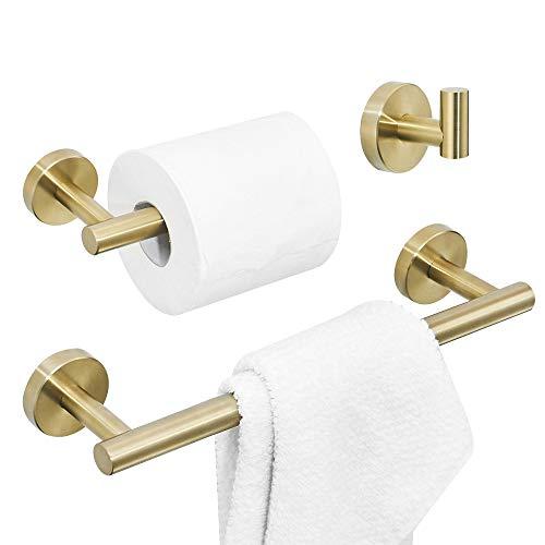 WOMAO Badezimmer Zubehör Set Gold Wandmontage Edelstahl Gebürstet Handtuchhaken Toilettenpapierhalter Handtuchhalter 3er Set Badaccessoires