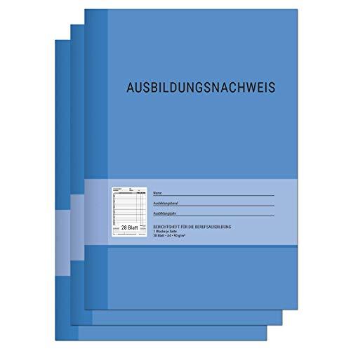Berichtsheft Ausbildung / Ausbildungsnachweisheft täglich / wöchentlich - DIN A4, 28 Blatt, 1 Woche je Seite, Montag bis Sonntag (3er Set)