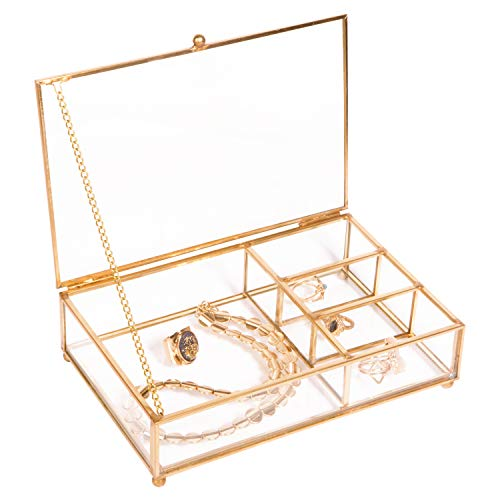 Home Details Vintage Mirrored Bottom Glass Keepsake Box Jewelry Organizer, Decorative Accent, Vanity, Wedding Bridal Party Gift, Candy Table Décor Jars & Boxes, 4 Compartment, Gold