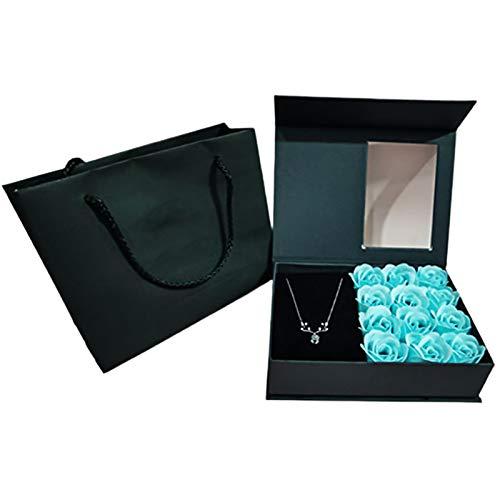 JGONas Diseño de flores conservadas para pintalabios, perfume, recipiente para guardar el Día de la Madre, Navidad, cumpleaños, color azul