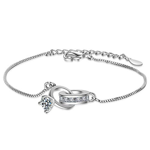 Bracelet pour femme, bracelet bague réglable en argent pour femme, cadeau d'anniversaire d'anniversaire d'amour de chaîne rétro