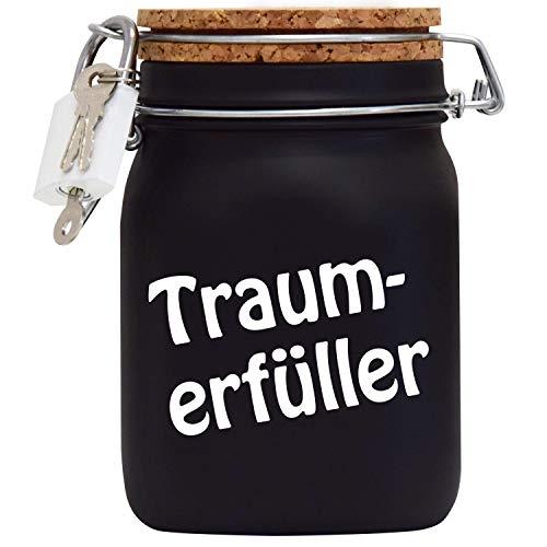 Spardose Traumerfüller Wunschtraum/Follow Your Dreams Geld-Geschenk-Idee in Schwarzem Glas L
