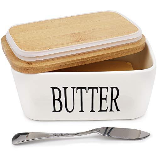 AngLink Butterdose Porzellan, Butterschale für 250 g Butter Keramik Butterdose Emaille mit Deckel, Weiß
