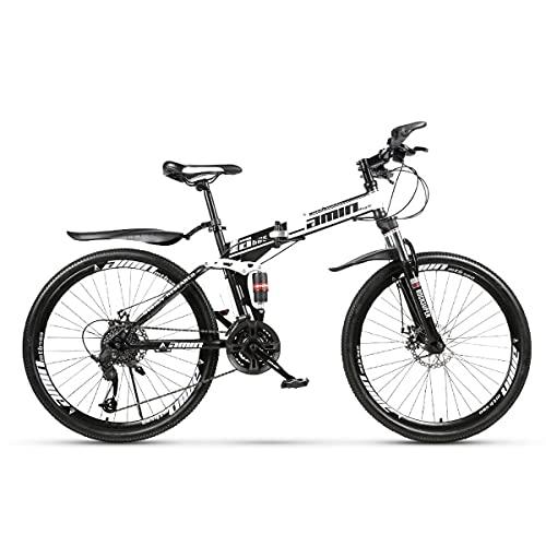 GGXX 21/24/27/30-Speed 26-Inch Full Suspension Mountain Bike Double Shock Absorber One-Wheel Folding High Carbon Steel Double Disc Brake Bike