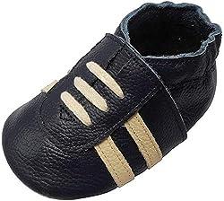 YIHAKIDS Weicher Leder Lauflernschuhe Krabbelschuhe Babyhausschuhe Turnschuh Sneakers mit Wildledersohlen(Marineblau,0-6 Monate,19/20 EU)
