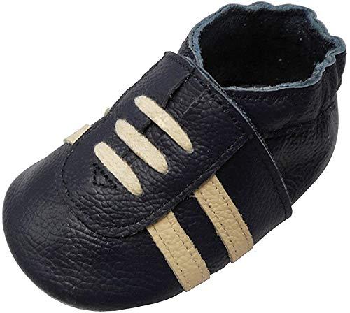 YIHAKIDS Weicher Leder Lauflernschuhe Krabbelschuhe Babyhausschuhe Turnschuh Sneakers mit Wildledersohlen(Marineblau,6-12 Monate,22 EU)