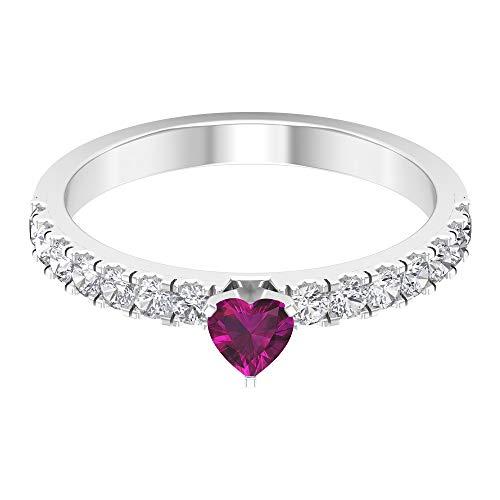 Anillo solitario de rodolita de 1/4 quilates, anillo de diamante HI-SI de 1/2 quilates, 14K Oro blanco, Size:EU 52