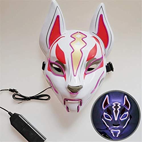 NKJBUVT Máscara De Zorro Línea De Neón Accesorios De Disfraces De Halloween Máscara Brillante Inducción Máscara De Deriva Controlador Flash con Música para Fiesta Cosplay (Verde) @Purple