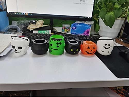 Cabilock 12 Piezas de Cubo Portátil de Calabaza con Asas de Tazón de Caramelo de Calabaza Titular de Los Niños Truco O Trato Goodie Candy Barril para La Fiesta de Halloween