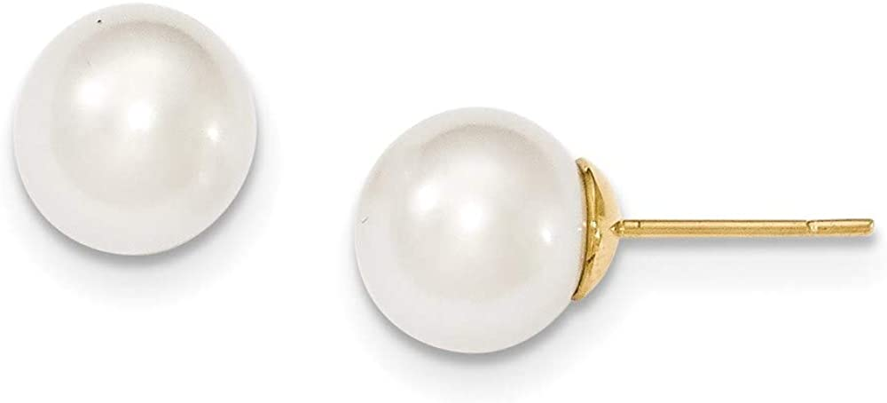 14k 10-11mm White Round Saltwater Cultured South Sea Pearl Post Earrings style XF469E