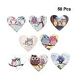 SUPVOX 50 Piezas de Botones de Madera a Granel Patrón de Búho de Dibujos Animados Lindo Corazón Tachuelas Botones con 2 Agujeros para Pintura de Costura DIY (Color Mezclado)