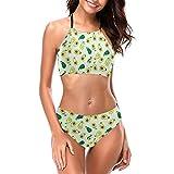Delerain Traje de baño de cuello alto para mujer, traje de baño verde aguacate acolchado bikini conjunto de 2 piezas, S a XXL - - Large