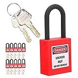 Candado de seguridad para bloqueo y etiquetado, 10 juegos de bloqueo de etiquetado de nailon a prueba de polvo de 38 mm para aplicaciones de bloqueo eléctrico, hidráulico o neumático(rojo)